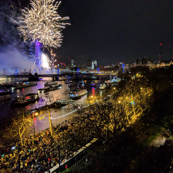 NYE fireworks on the River Terrace