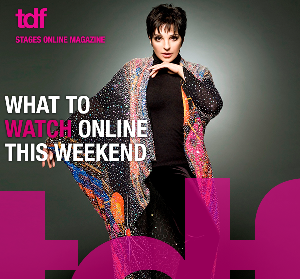 Liza Minnelli looking straight at the camera with her left hand under her chin and her right arm extended in a rhinestone-studded black cape with the headline: What to Watch Online This Weekend