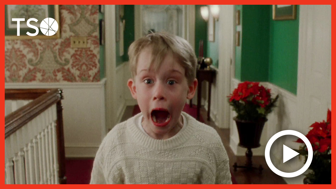 A still from the film Home Alone linking to a video trailer
