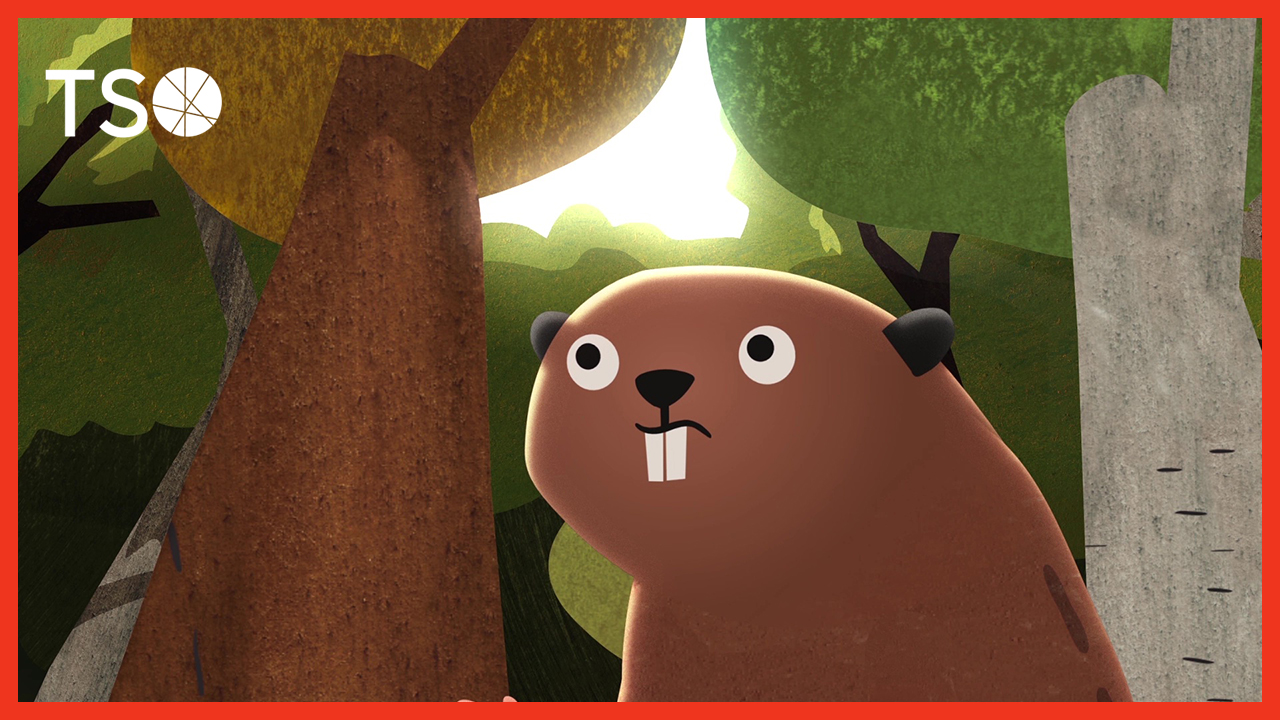 Screenshot from the short animated film DAM! The story of Kit the Beaver