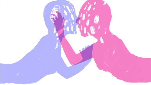 Illustration of two figures kissing, one a pink shadow and one a purple shadow