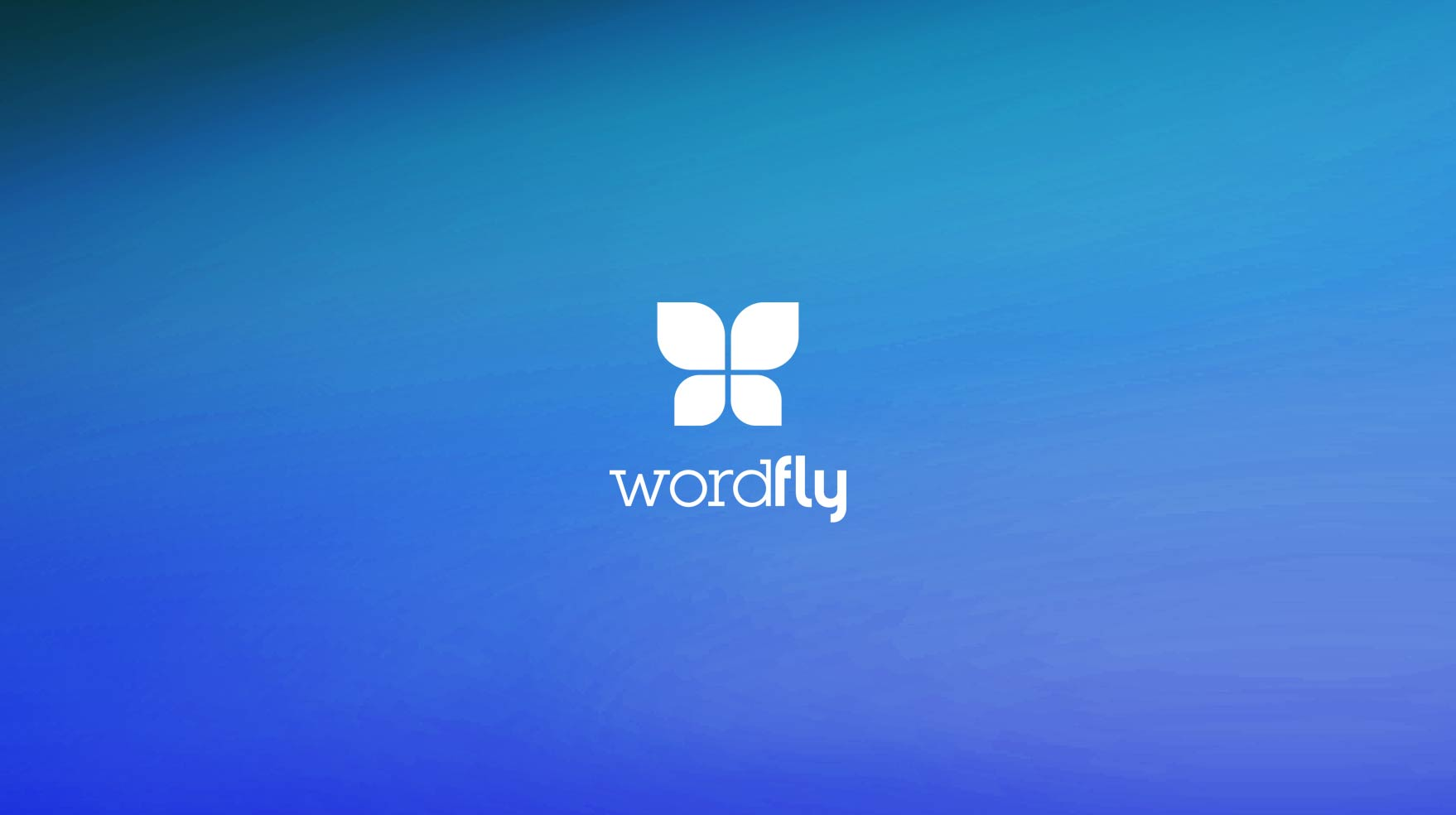 WordFly logo on bright blue gradient