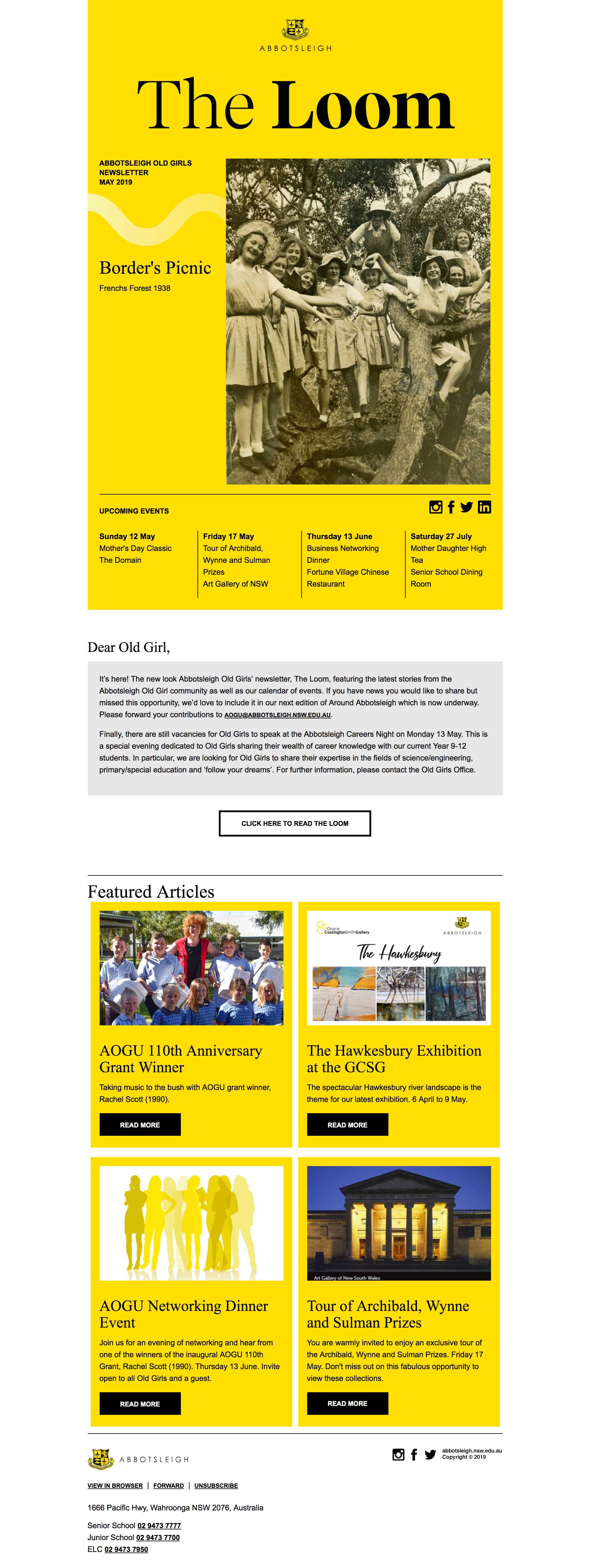 AOGU Newsletter, The Loom May 2019 - desktop view
