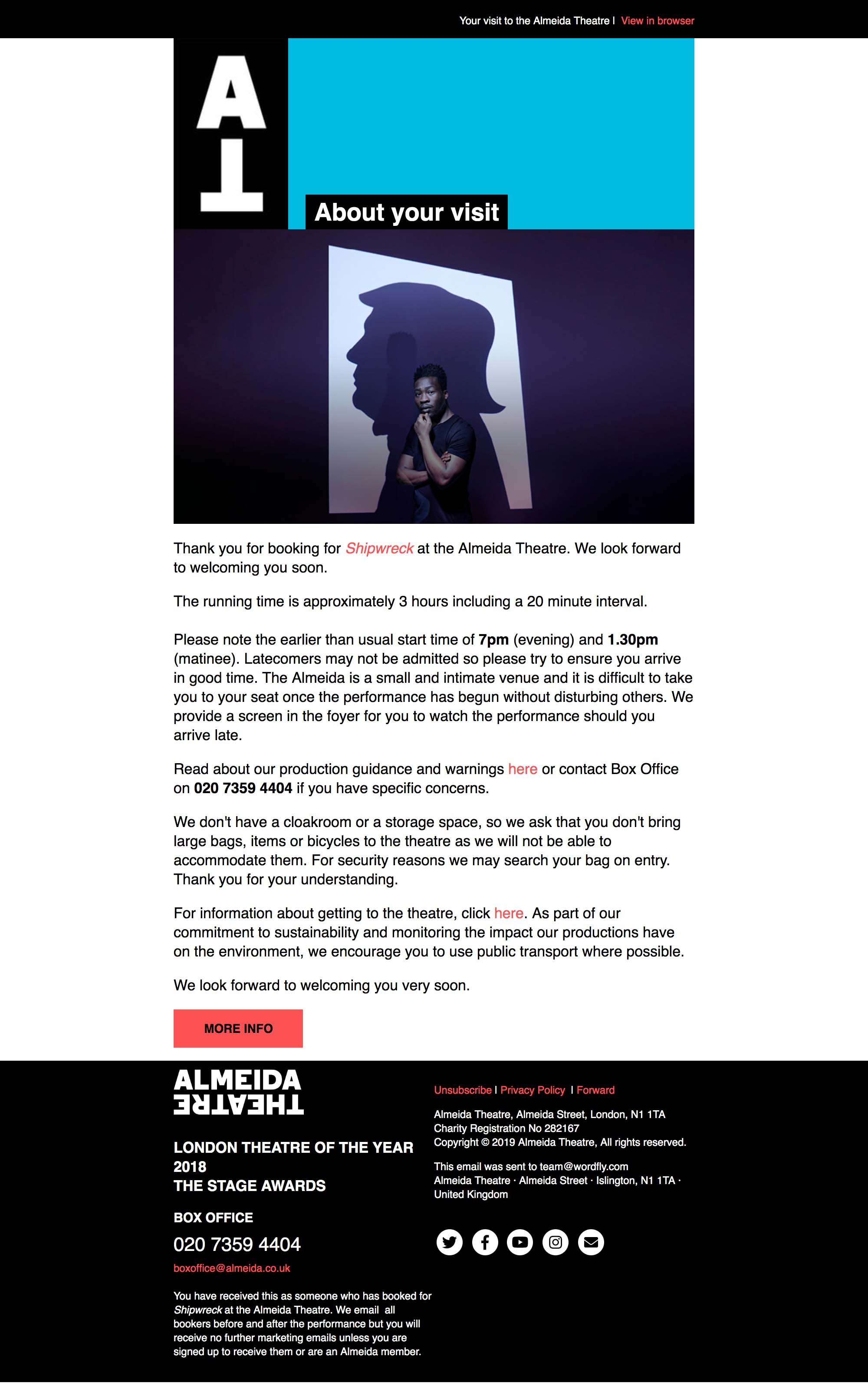 Your upcoming visit to the Almeida Theatre - desktop view