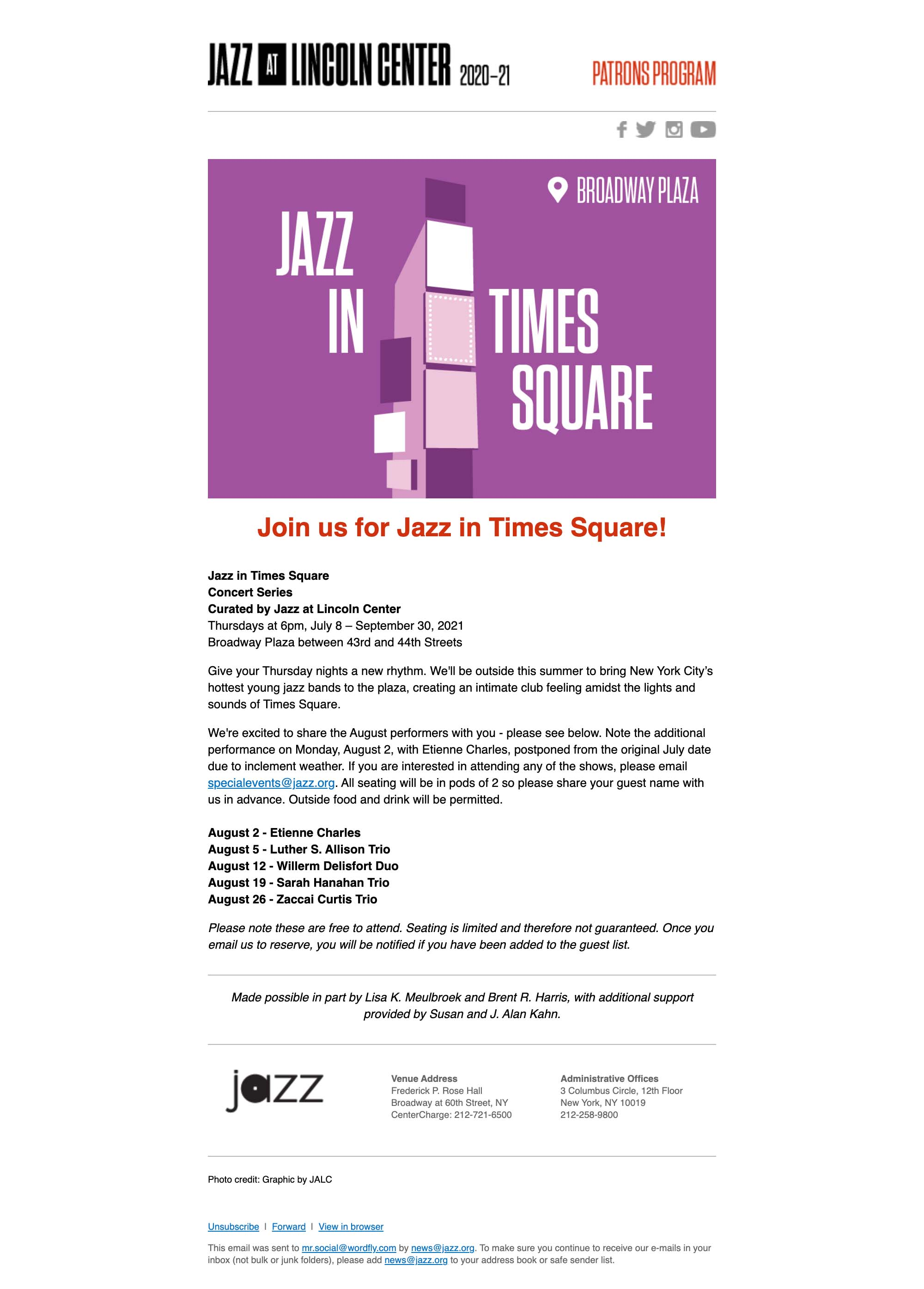 You're Invited to Jazz in Times Square in August! - desktop view