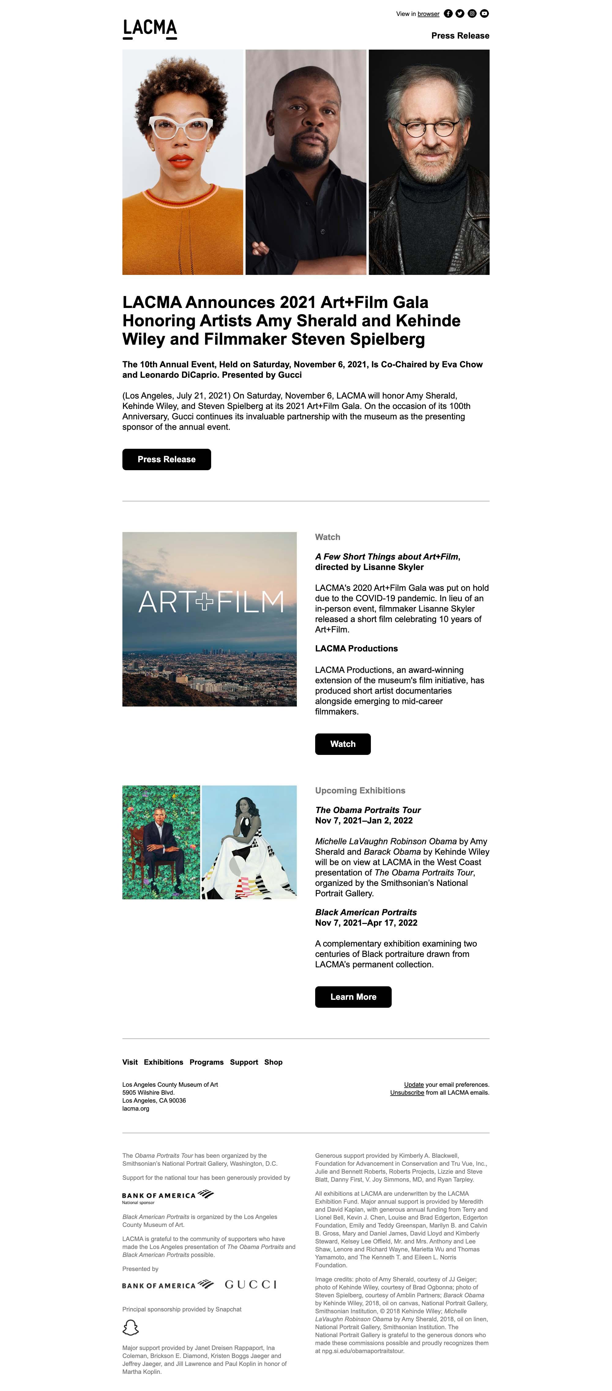 LACMA Announces 2021 Art+Film Gala Honorees - desktop view
