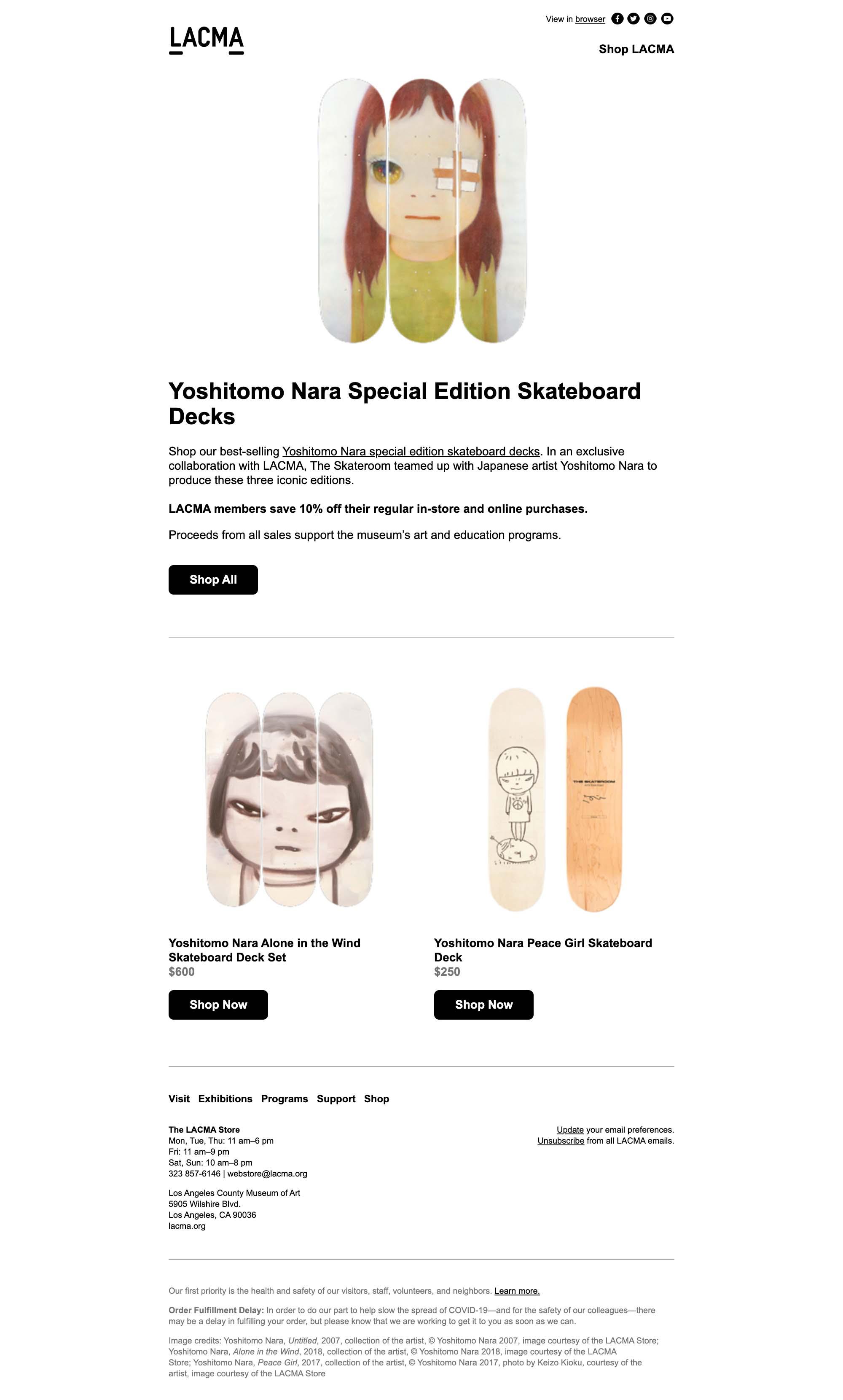 LACMA Store: Yoshitomo Nara Skateboard Decks - desktop view