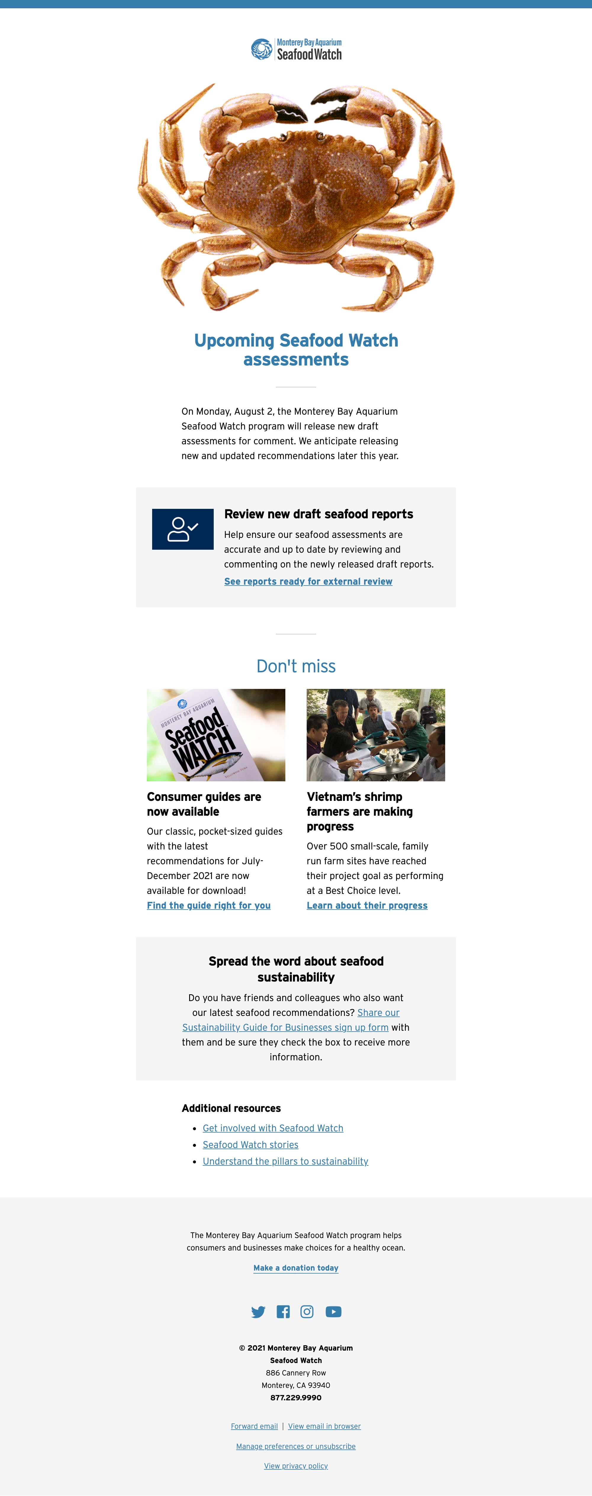 Seafood Watch Recommendation Updates - August 2020 - desktop view