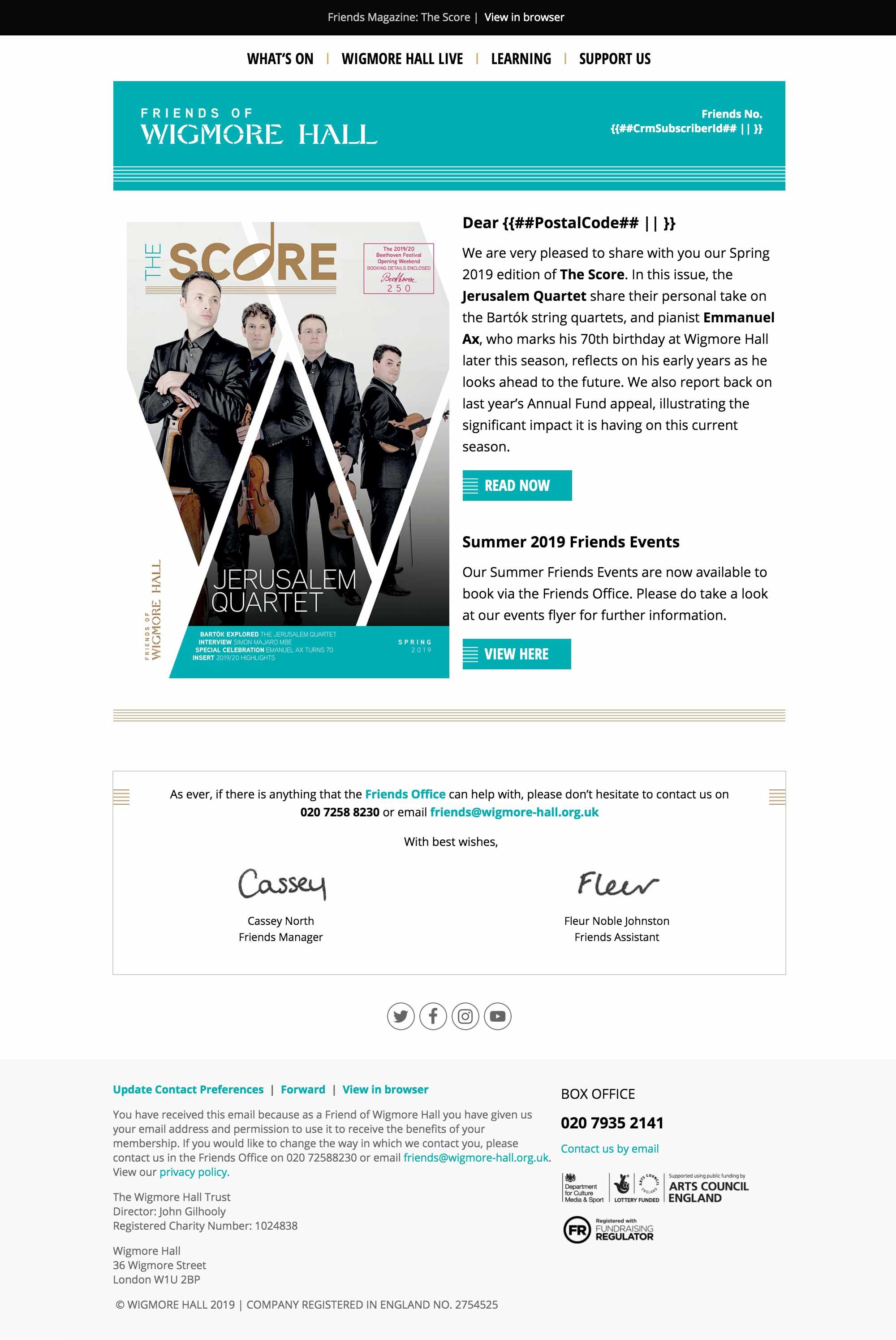 Friends Magazine: The Score - Spring 2019 - desktop view