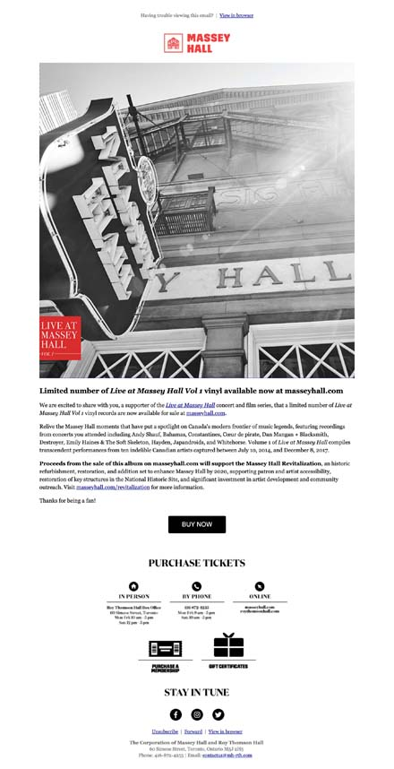 Limited number of Live at Massey Hall Vol 1 vinyl available now at masseyhall.com