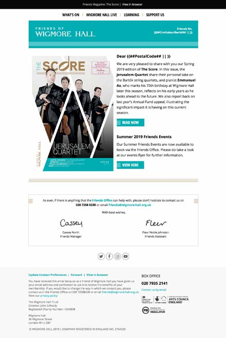 Friends Magazine: The Score - Spring 2019