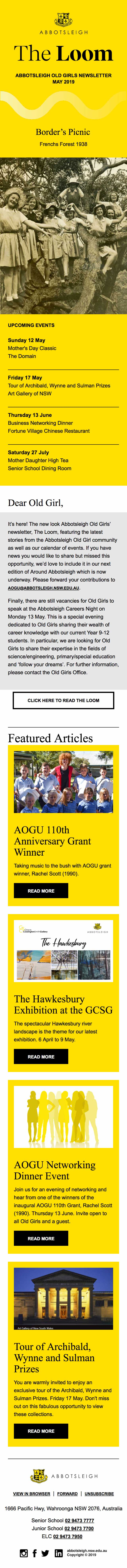 AOGU Newsletter, The Loom May 2019 - mobile view