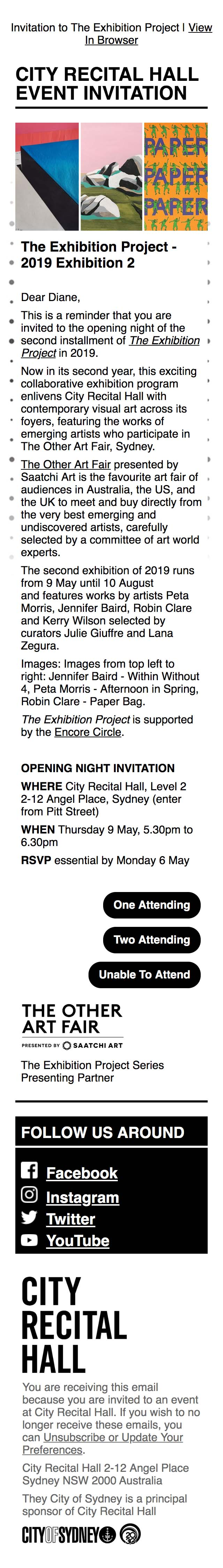 Reminder - You're Invited: Opening of The Exhibition Project - mobile view