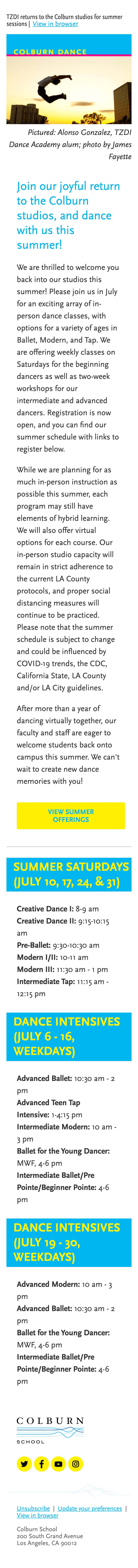 Dance with us on campus this summer - mobile view