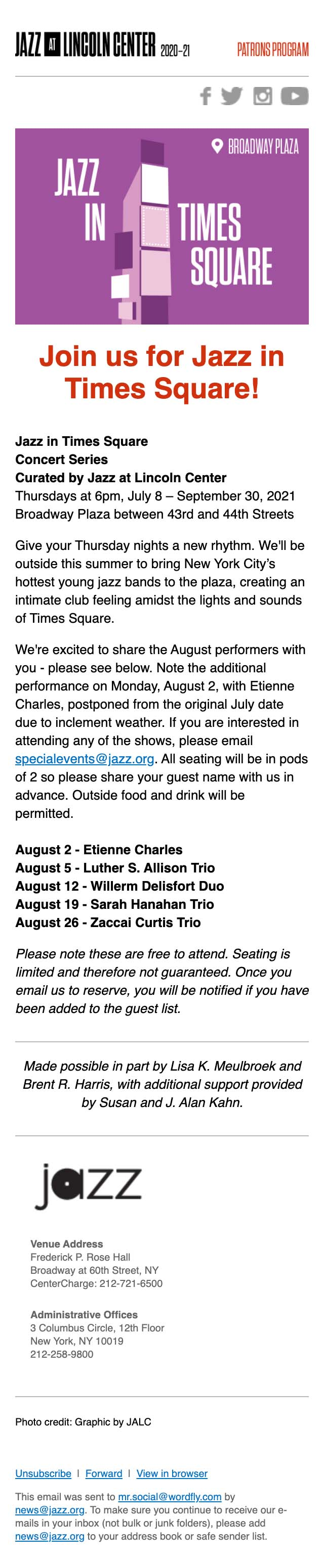 You're Invited to Jazz in Times Square in August! - mobile view