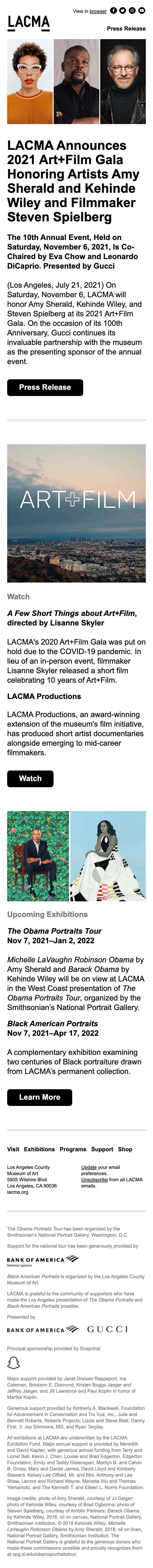 LACMA Announces 2021 Art+Film Gala Honorees - mobile view