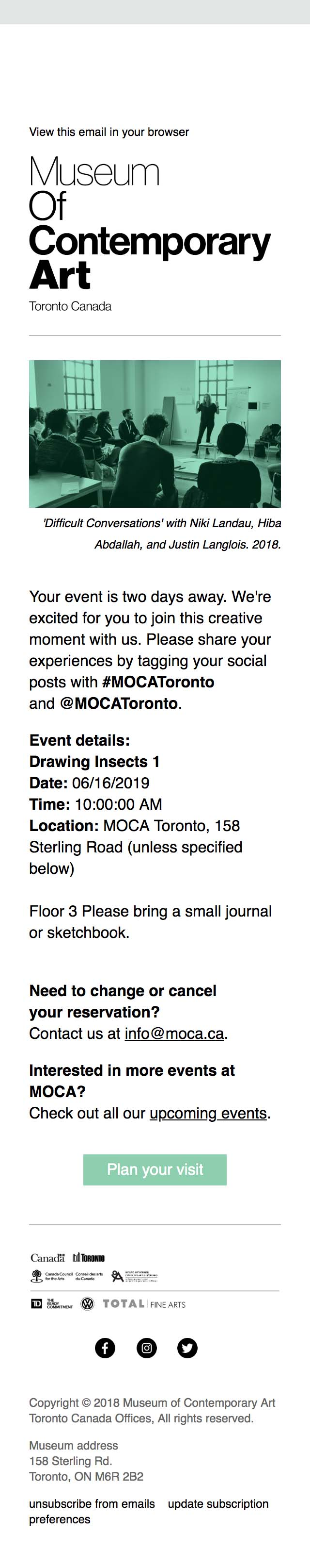 Your event at MOCA is coming up - mobile view