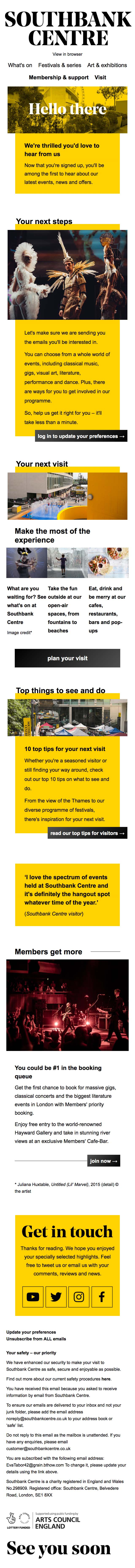 Welcome to Southbank Centre - thanks for signing up - mobile view