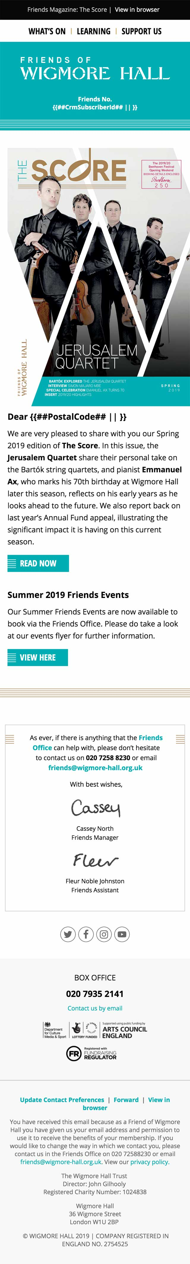 Friends Magazine: The Score - Spring 2019 - mobile view