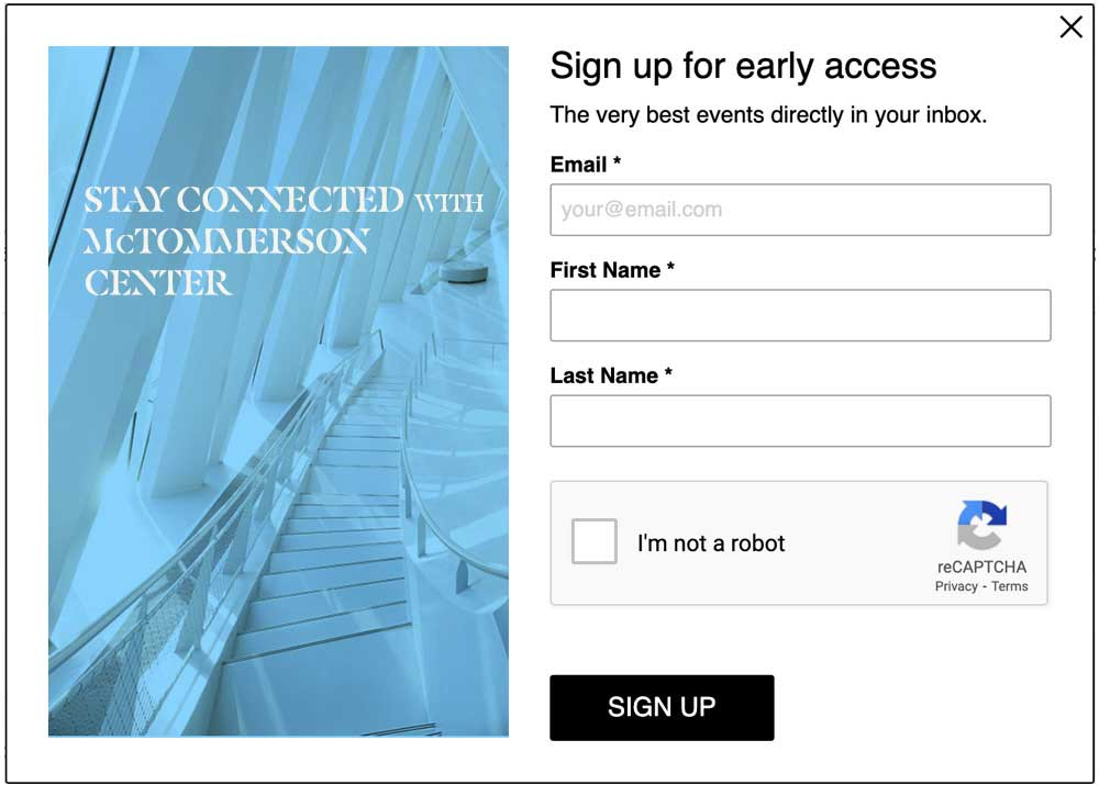 Screenshot of lightbox feature with an image with fields to collect Email, First Name, Last Name and ReCAPTCHA