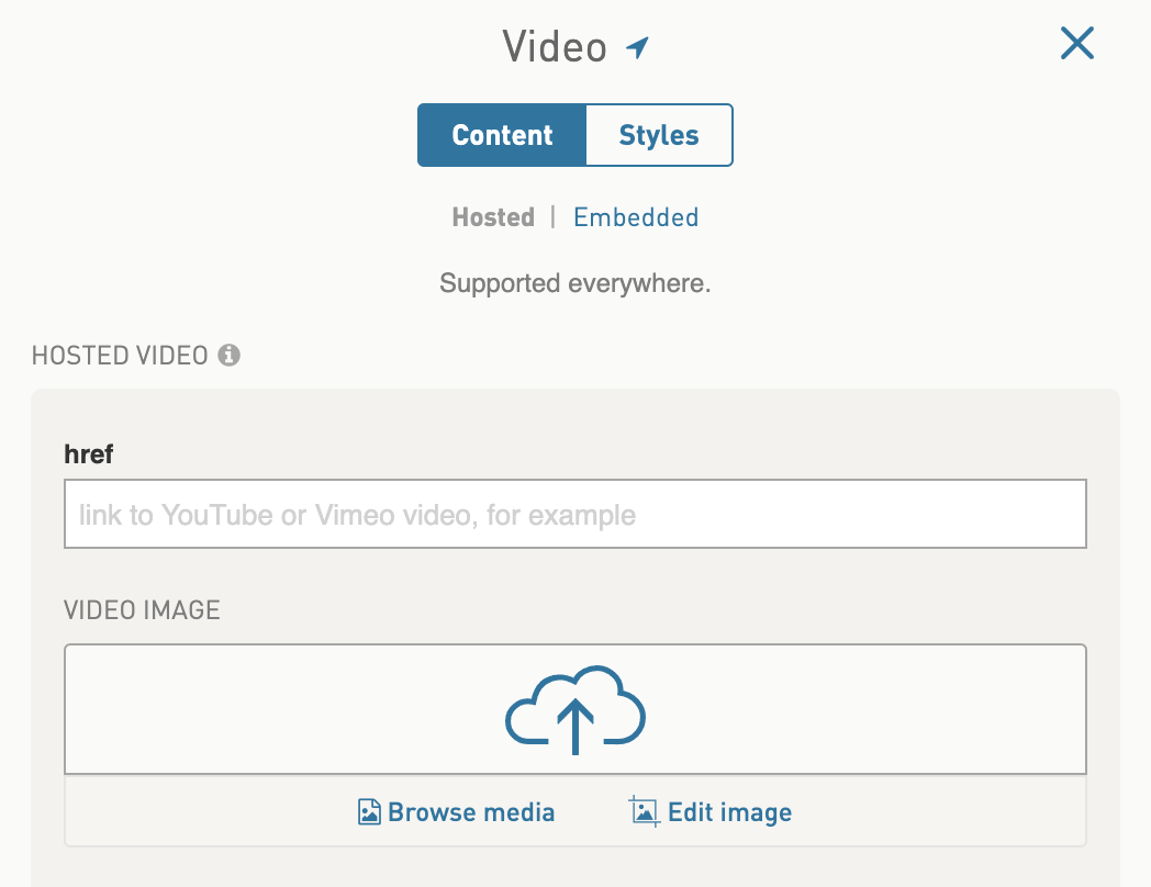 How to add hosted video (example, YouTube and Vimeo