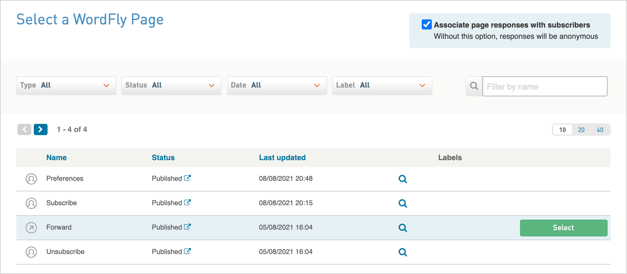 Screenshot of Browse Pages window with the Forward row highlighted
