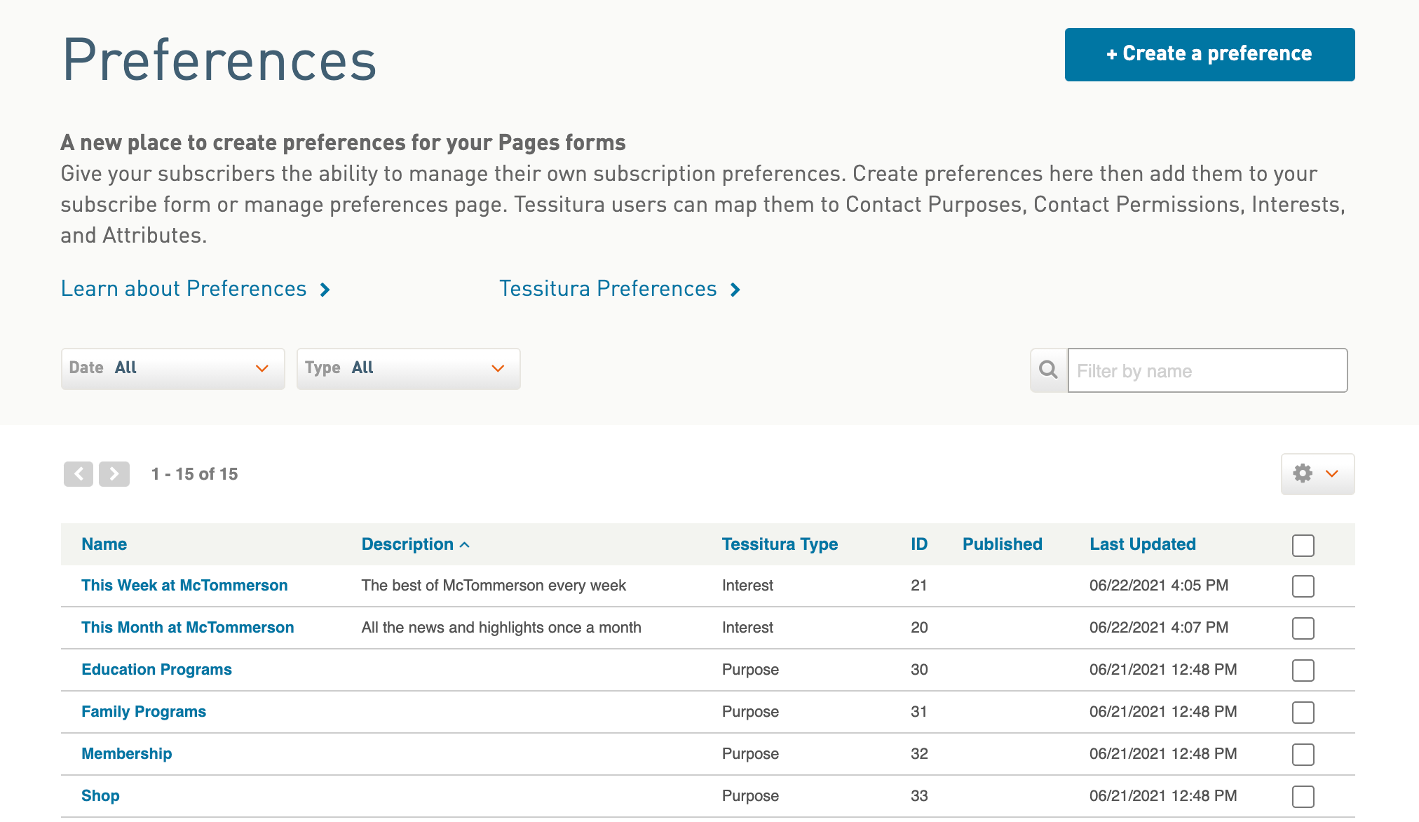 Screenshot of Preferences page with Create button in the upper-right