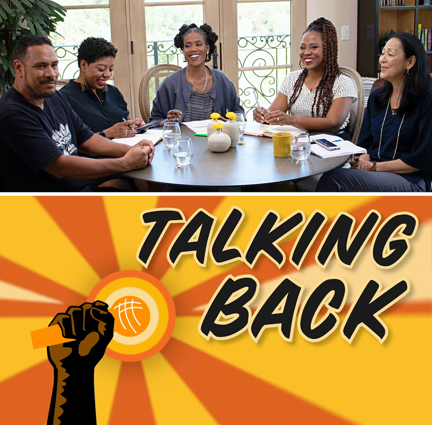 five Latinx, Asian, and Black people at a table, smiling. graphic element: says talking back, dark skinned fist holds a microphone.