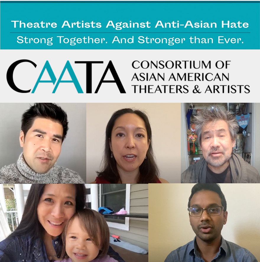 five our our Asian alumni. graphic logo. title: theater artists against anti-Asian hate-strong together and stronger than ever.