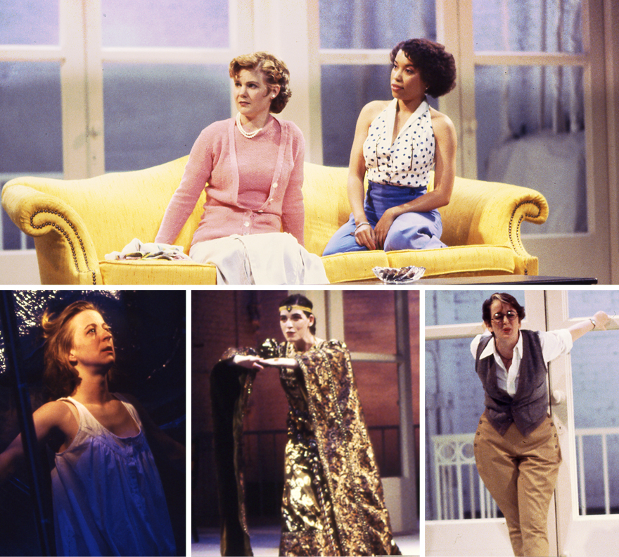 five female characters in different scenes: sitting on a couch, lunging toward audience in a metallic robe, in front of tall windows and plastic curtain