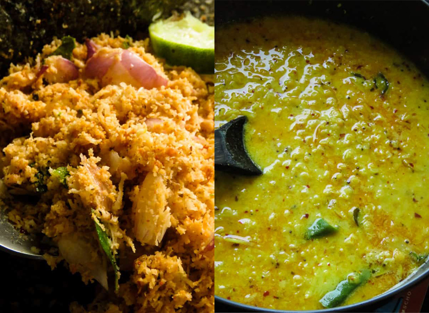 photo of crunchy coconut sambol and sauce like dahl curry